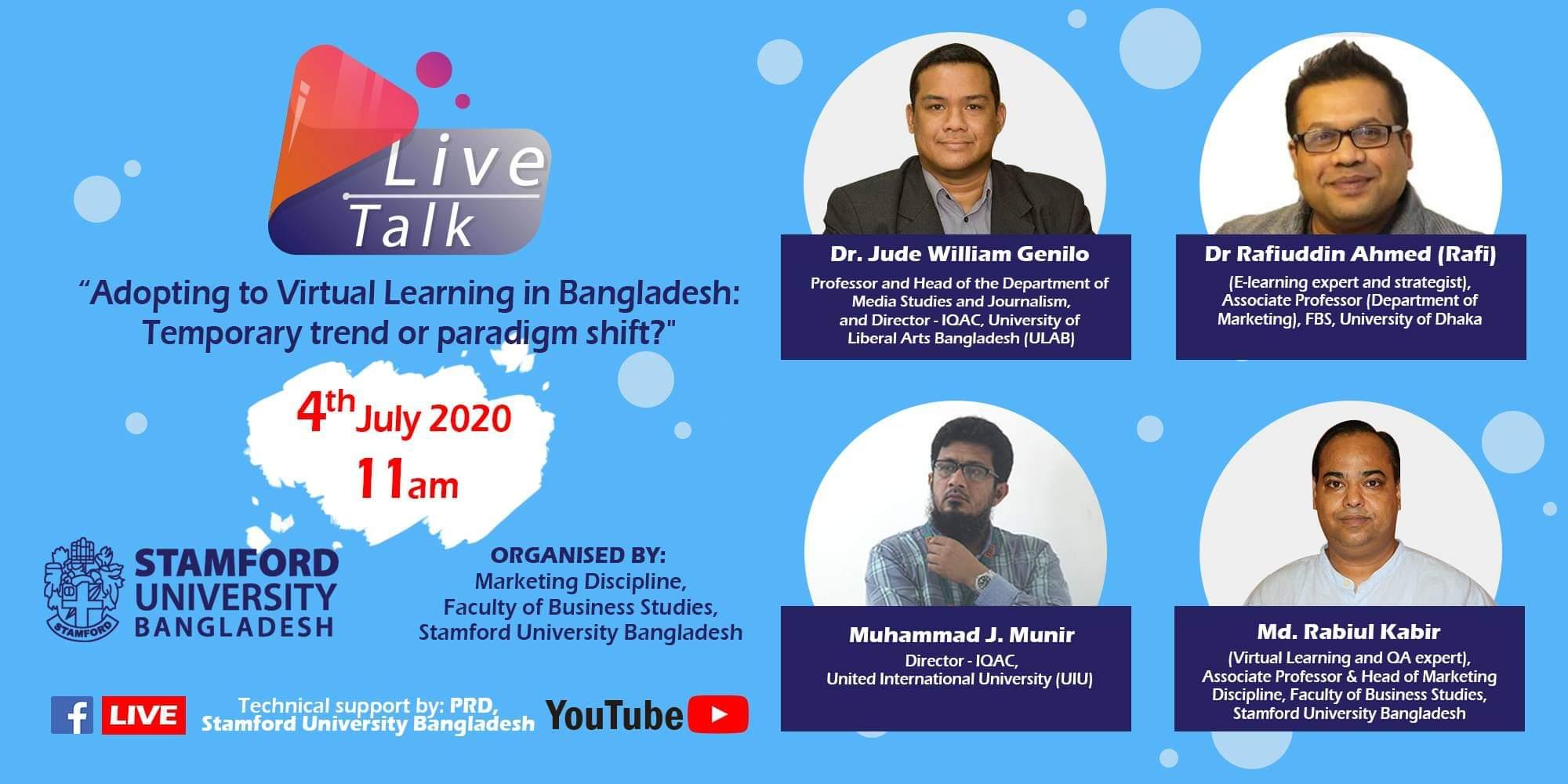 "LIVE TALK on ""Adopting to Virtual Learning in Bangladesh"